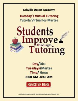 Tuesday Tutoring 8:00-8:45 AM