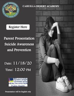 Suicide and Prevention Presentation 11/18/20 12:00 PM